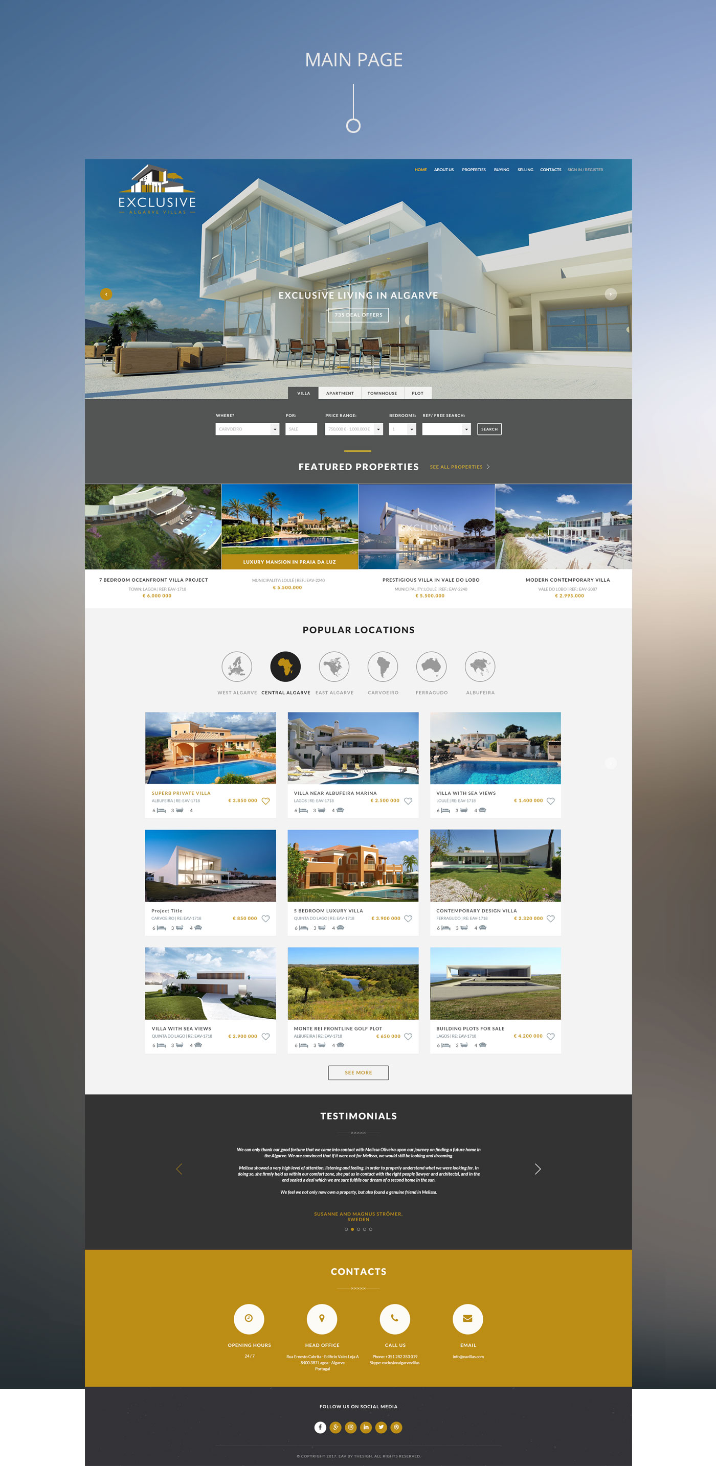 exclusive algarve villas web project